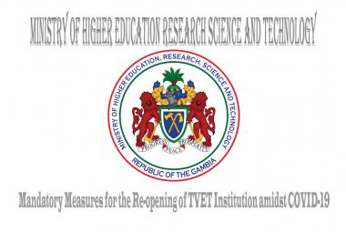 Mandatory measures for the Re-opening of TVET Institution amidst COVID-19